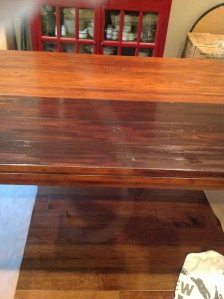 Half table with gel stain