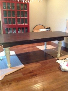 Classic dining room table with linen legs