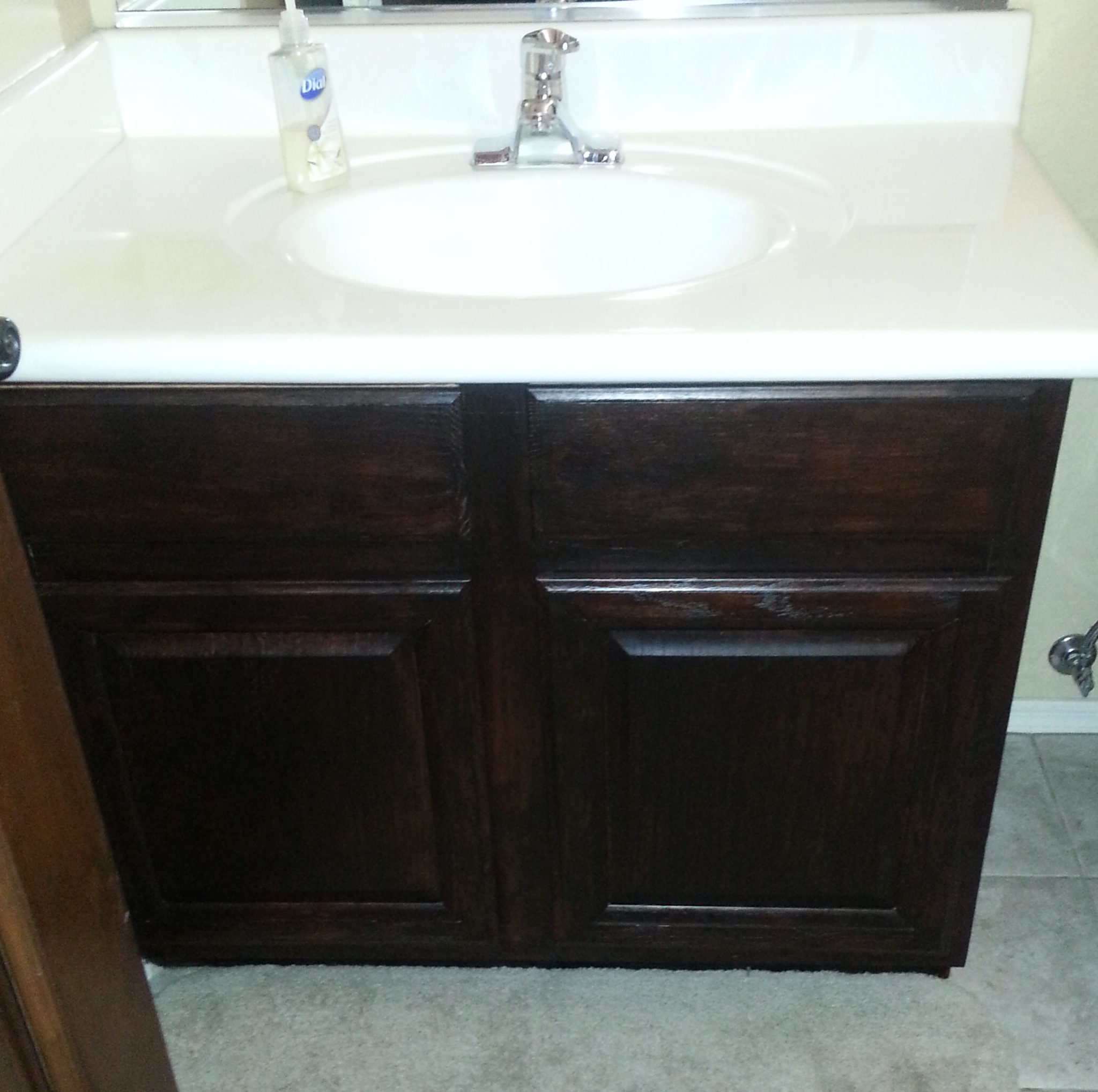 Choosing the right dark gel stain java gel stain vs for Can you use kitchen cabinets in bathrooms