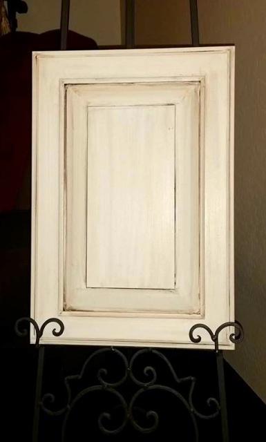 Cream cabinet with brown glaze